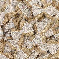 10-100pcs Hessian Jute Burlap Lace Bows DIY Crafts Bow Ties Wedding Party Decor