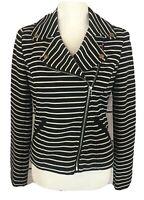 Bagatelle Black & White Striped Moto Jacket Women's Size Small