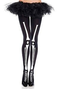 New Opaque Halloween Skeleton Print Pantyhose Music Legs 37299