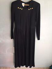 Linda Lewis 100% wool Vtg 80s 90s black dress modesty Long drop waist