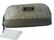 Calvin Klein CK Cosmetic Makup Bag $68 Pencil Case Brown Metalic Logo New