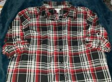 CJ Banks Women's 2x - 3x Dress Shirt Checkered Plaid Flannel Top XXL XXXL C.J.