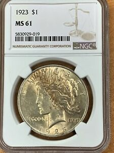 1923 PEACE SILVER DOLLAR NGC MS61
