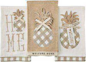 "Mud Pie E1 Welcome 28x21"" Pineapple Applique Towel 41500207 Choose Design"