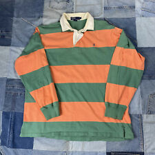 New listing Vintage Green/ Orange Striped Polo Rugby Long Sleeve L