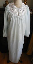 NWOT SOFT BLUE W/LACE & EMBROIDERY ON SATIN KOMAR LONG WOMEN'S NIGHTGOWN S 8-1