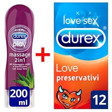 Durex Love 12 Preservativi e Gel Massaggio 2 in 1 Aloe Vera Lubrificante 200 ml