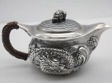 999 Sterling Silver Art Full Handmade in Block Teapot , Dragon Pattern, Healthy