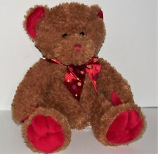 """First and Main Brown Teddy Bear """"Cranbeary"""" Red Neck Polk Dot  Bow plush - 10"""""""