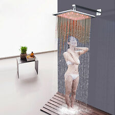 """16"""" LED Waterfall Rainfall Top Sprayer Shower Head With Shower Arm Wall Mount"""