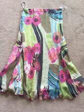 Libra Blue Green Pink 100% Silk Lined Floral Skirt, UK 14