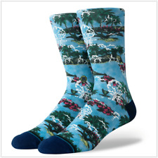 NWT Stance HANALEI tropical floral crew socks blue  size L