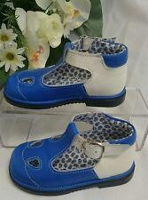 BABY Jungen Kinder Schuhe SANDALEN MADE IN ITALY Gr. 25 Royalblau Weiß LEDER