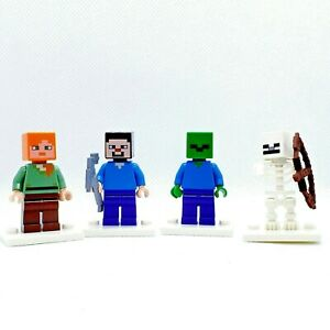 LEGO Minifigure Minecraft Lot of 4 Steve Alex Zombie Skeleton Stocking Stuffer