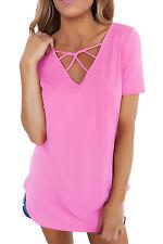 Women Pink Top Shirt Blouse Casual Trendy 250139 L