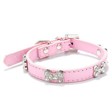 Dog Collar Puppy Coller Diamante For Small Medium Large PU Leather Bone Girl Boy