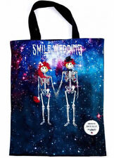 NEW WEDDING MARRIED WITH SKELETONS SMILE UNDERSTAR REVERSIBLE TOTE BAG HALLOWEEN