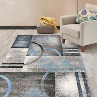 Rugshop Modern Geometric Circles Area Rug Gray