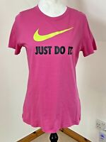Nike Ladies Size Large 12 To 14 Just Do It Pink T Shirt Yellow Swoosh Stretch