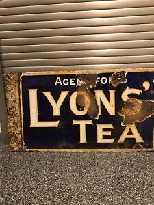 Enamel Sign Lyons Tea D/sided Original Vintage Rare Old Antique Advertising