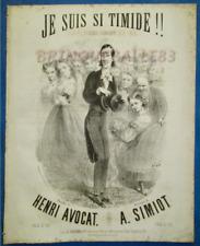 HUMOUR PIANO CHANT PARTITION JE SUIS SI TIMIDE AVOCAT SIMIOT 1863 STOP RETZ