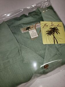 Joe Marlin Mens 4XL Short Sleeve Hawaiian Shirt Embossed Carribean Green NWT