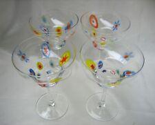 Lot of (4) Millefiori Style Margarita Beverage Glasses