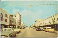 Cleveland Street Business Section Looking West in Clearwater FL Postcard