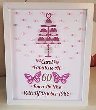 Personalised Framed Birthday 60th 70th 80th 90th 100th Any Age Gift Cupcake Stan