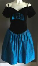Hire/Buy 1980's Black Velvet Blue Silk Taffeta Off Shoulder Drop Waist Dress - 8