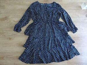 YOURS ladies black cream pattern long sleeve tiered tunic dress UK 22 PLUS SIZE