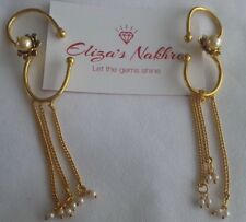 Pearl White Traditional Rajwadi Ear Cuffs Indian/Pakistani Bollywood Jewellery