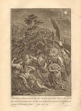 1770  ANTIQUE PRINT -BIBLE- AND WHEN ABRAM HEARD THAT HIS BROTHER WAS TAKEN CAPT