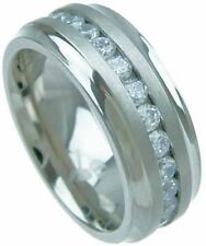 3CT Diamond Pure TITANIUM 8mm Wide Mens Wedding Band Ring Silver Lab Created 9