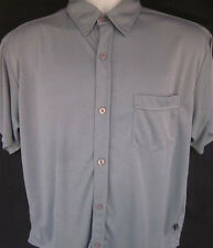 KUSTOM MENS LOUNGE BUTTON FRONT SHORT SLEEVE GRAY BOWLING SHIRT SMALL S