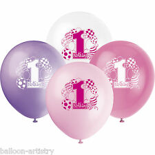 Unique Girl's Pink 1st Birthday 8 Printed Balloons
