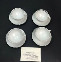 Winterling China Bavaria Germany Porcelain White Set Of 4 Teacup&Saucer Silver T