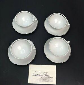 Winterling China Bavaria Germany Porcelain White Set Of 4 Teacup&Saucer Silver T