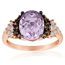 Roberto Ricci Pink Amethyst, White Topaz & Smokey Quartz Ring in 14k Rose Gold