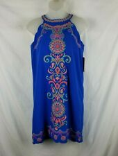 GB Girls XL Junior Blue Floral Embroidered Dress Scalloped