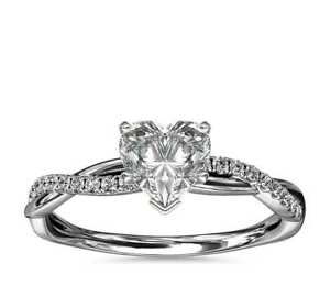 1.25 Ct Petite Twist Heart Cut Diamond Valentine's Gifts Ring In Sterling Silver
