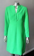 Mod Gogo Vintage 70s Plunging Shift Kelly Green Long Sleeve Mini Party Dress M