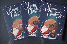 2017-Christmas-Gibraltar Festive Santa 50p Coin&Card-Fifty Pence In Hand LIMITE