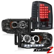 Dodge RAM 02-05 1500/2500/3500 HaLo Projector L+R Headlight+SMOKE LED Tail Light