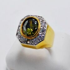 MEN RING GREEN PERIDOT 24K YELLOW GOLD FILLED GP SOLITAIRE HIPHOP ESTATE SIZE 11