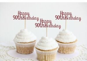 Happy Birthday Cupcake Toppers Age Party Food Cake Decorations 21st 18th 40th