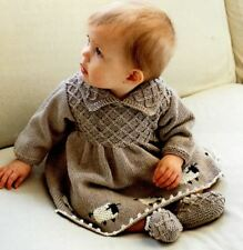 Knitting Pattern Baby Girls 5 Ply Smock Style Sheep Dress & Shoes 6-24 mths -132