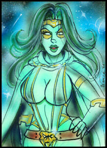 Marvel Guardians of the Galaxy GAMORA Sketch Card Painting by Bianca Thompson