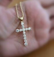 0.25 Ct Round Cut Diamond 14k Yellow Gold Over Christmas Cross Pendant W/ Chain