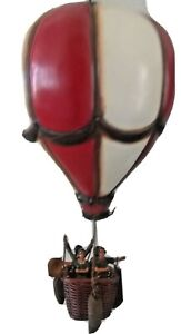 """Hot air balloon vintage decoration red white hanging basket hook about 23 x 11"""""""